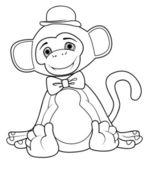 Coloring book monkey vector clip art