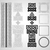 Set of Celtic knots patterns frameworks Vector illustration