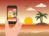 Taking photo of a beach during sunset by smart phone - flat design - vector illustration