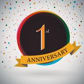 1. Jahrestag Poster, Template-Design im retro-Stil - Vektor-Hintergrund