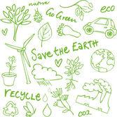 Eco doodles icon set