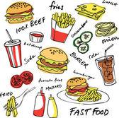 Colorful fast food hamburger vector set