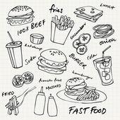 Fast food hamburger set vettoriale
