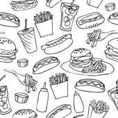 Fast food seamless pattern background