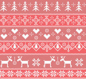 Seamless winter pattern with deer trees hearts and snowflakes