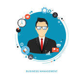 Business management concept flat illustration Office man with icons eps8