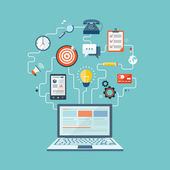 SEO technology flat illustration with laptop and icons eps10