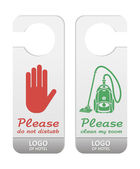Please do not disturb and please clean my room tags Grey - green colors and grey - red colors