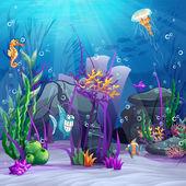 Seabed with rocks, algae, barnacles