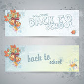 Set with two horizontal banners with school subjects and autumn leaves