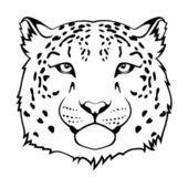 Snow leopard head Black vector illustration
