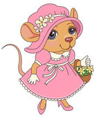 Mouse with flowers in a pink vintage dress Cartoon character illustration