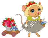 Mouse with flowers in vintage dress Cartoon character illustration