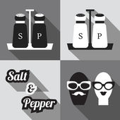 Salt and Pepper shakers - flat modern design in black and white and long shadow