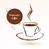 A cup of coffee Hand drawn watercolor sketch Vector illustration isolated