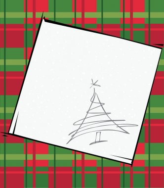 Checkered Christmas background with tree