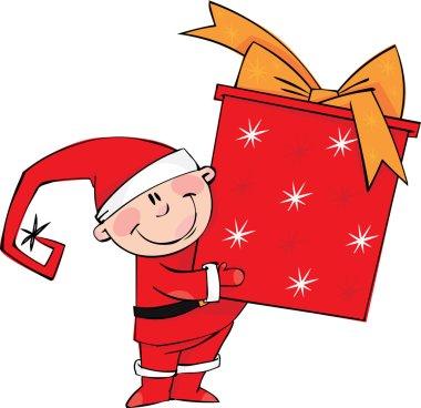 Little Santa with big gift box
