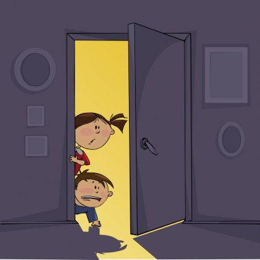 Dark room and frightened children