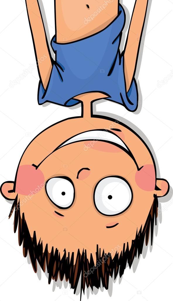 Funny boy hanging upside down