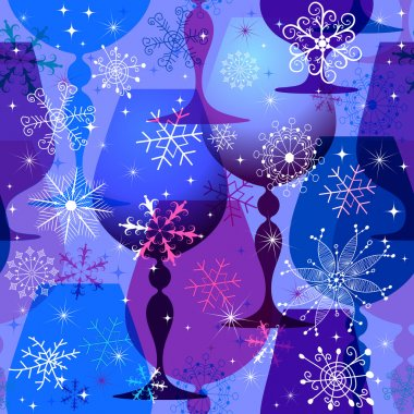 Christmas blue-violet seamless pattern