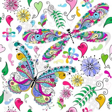 Floral seamless valentine pattern with colorful butterfly and dragonfly and hearts (vector) clip art vector