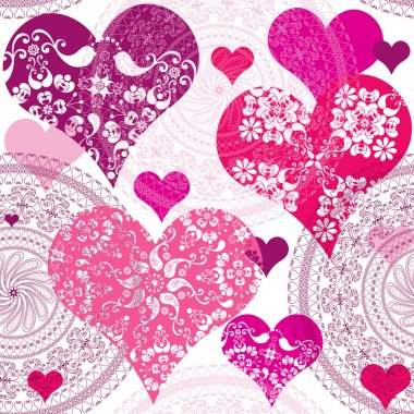 Seamless valentine pattern with flowers and vivid hearts (vector) clip art vector