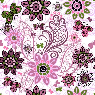 Seamless spring vintage pattern