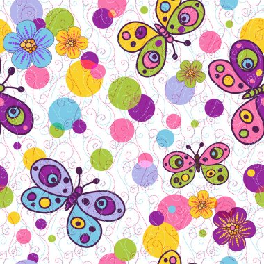Seamless spring vivid floral pattern with colorful vintage butterflies and balls and curls (vector EPS 10) clip art vector