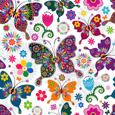 Seamless spring white floral pattern with colorful butterflies and flowers (vector) clip art vector