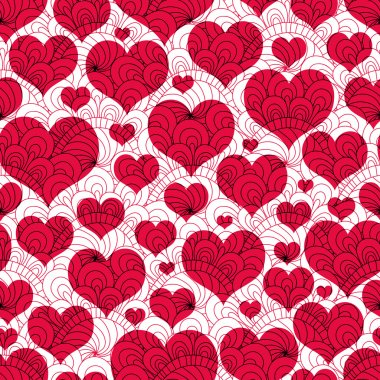 Seamless valentine background with red hearts and lacy vintage pattern (vector EPS 10) clip art vector