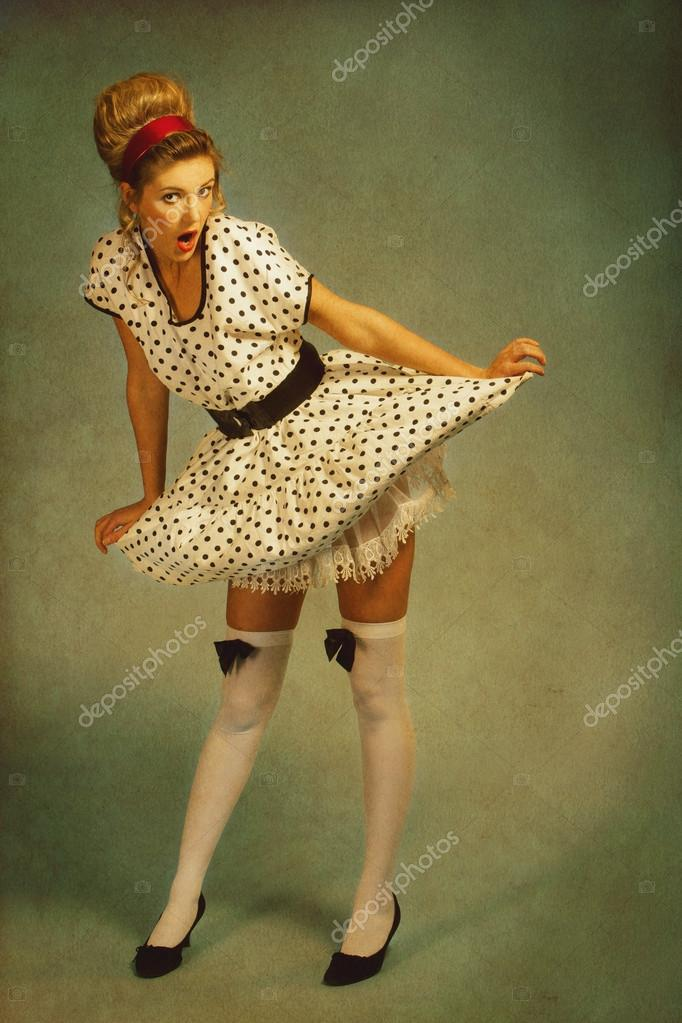Pin up girl retro female portrait with added vintage paper text stock photo tolokonov 19442657 - Photo pin up ...