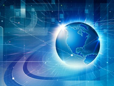 Global information network. Abstract techno backgrounds