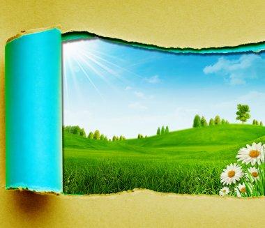 """Картина, постер, плакат, фотообои """"летний день красоты на зеленых холмах постеры картины модульные"""", артикул 21736305"""