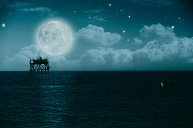 Midnight on the sea, environmental backgrounds