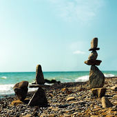 Fotografie Pebble tower, abstract marine still life for your design
