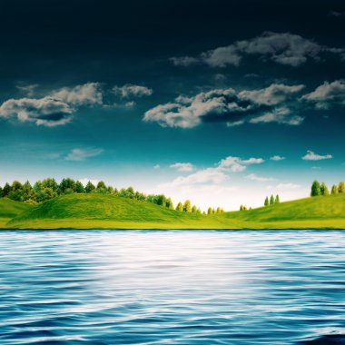 River side. Abstract summer landscape for your design