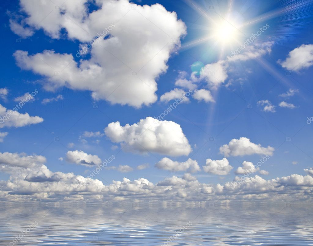 Nature background. white clouds over blue sky