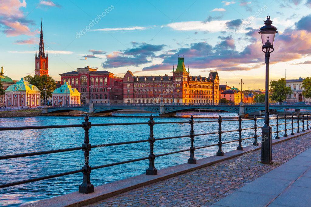 Фотообои Scenic sunset in Stockholm, Sweden