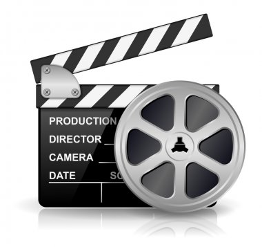 Vector illustration of black clapper board for film, movie and cinema production isolated on white background with reflection effect stock vector