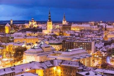 Winter night aerial scenery of Tallinn, Estonia