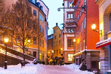 Winter in the Old Town in Stockholm, Sweden