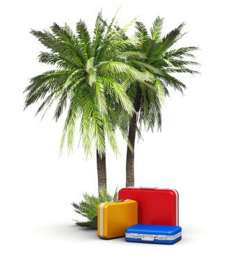 Travel, vacations and tourism concept: group of color travel cases under green beach island sea and ocean tropical palms isolated on white background stock vector