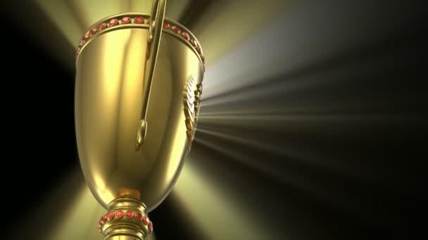 Odaítélési nyerő és fogalom-Európa-bajnokság: arany varrat nélküli hurok izzó trófea kupa-fekete háttér