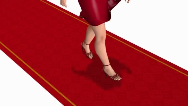 Woman walking by the red carpet