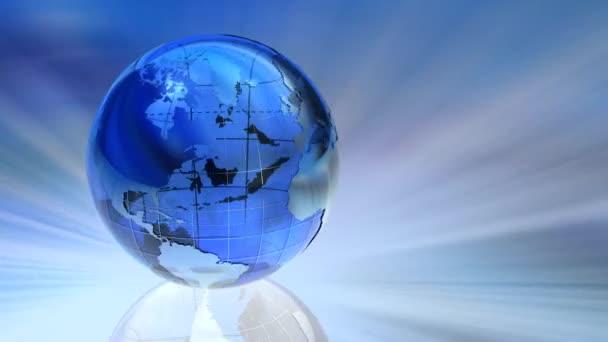 rotující průhledného skla země světa smyčka