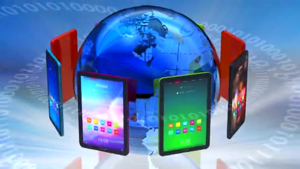 globální počítačové komunikace přes tablet pc koncept