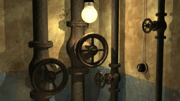 Grunge underground 3d interior with swinging lamp