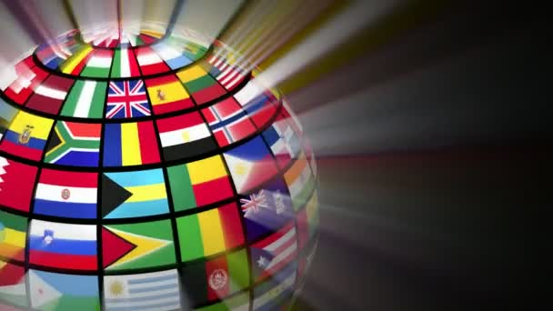 Global communication concept: glowing rotating globe with world flags on black background