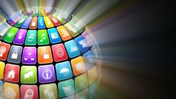 zářící koule z barevné ikony aplikací