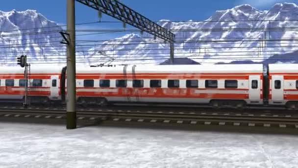 nádherné scenérie Vysokorychlostní vlak kolem železniční stanice v zasněžených horách
